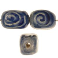 Claycult 18mm 4-Sided Spiral Stamped Ceramic Bead - Italian Blue
