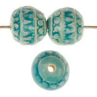 Claycult 14mm Khmer Round Ceramic Bead - Egyptian Blue