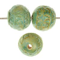Claycult 14mm Khmer Round Ceramic Bead - Egyptian Green