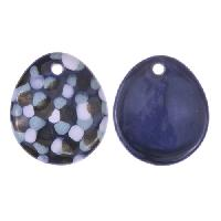 Claycult 25mm Teardrop Flat Ceramic Pendant - Black & Blue Mottle