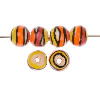 Claycult 10mm Twiggy Round Ceramic Bead - Flame