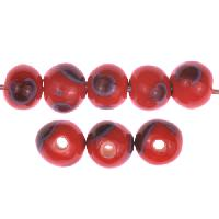 Claycult 8mm Round Ceramic Bead - Lady Bird Red
