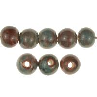 Claycult 8mm Round Ceramic Bead - Turquoise Red (ablaze/egyptian blue)