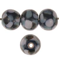 Claycult 12mm Round Ceramic Bead - Black & Blue Mottle