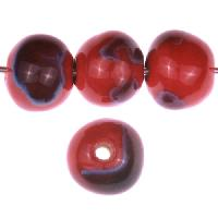 Claycult 12mm Round Ceramic Bead - Lady Bird Red