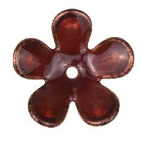 C-Koop Copper Enamel Rivetable / Stackable Flower Petal 5 Round 20mm - Ruby