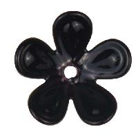C-Koop Copper Enamel Rivetable / Stackable Flower Petal 5 Round 20mm - Black