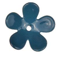 C-Koop Copper Enamel Rivetable / Stackable Flower Petal 5 Round 20mm - Peacock