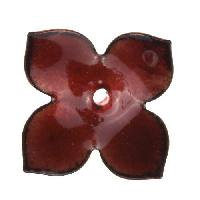 C-Koop Copper Enamel Rivetable / Stackable Flower Petal 4 Pointed 22mm - Ruby