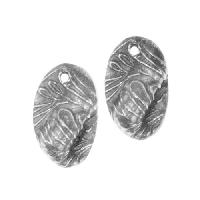 Dorabeth Pendant Drop Textured Folded Oval Small (2) - Antique