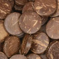 Coco Wood Coin Brown Top-drilled 16x4mm - strand