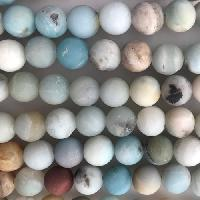 Amazonite 10mm Round Bead - Matte Black Gold