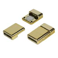 10mm Flat Cord Acrylic Magnetic Clasp per 10 pieces - Shiny Gold