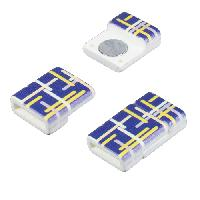 10mm Patterned Flat Cord Acrylic Magnetic Clasp - Blue Grid