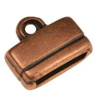 10mm Rectangle End Cap Loop Flat Leather Cord Clasp (2) - Antique Copper