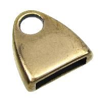 10mm Triangle End Cap Loop Flat Leather Cord Clasp (2) - Antique Brass
