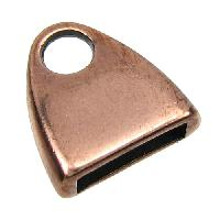 10mm Triangle End Cap Loop Flat Leather Cord Clasp (2) - Antique Copper