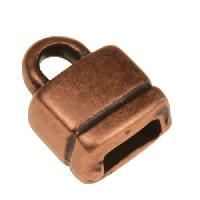 5mm Square End Cap Loop Flat Leather Cord Clasp (2) - Antique Copper