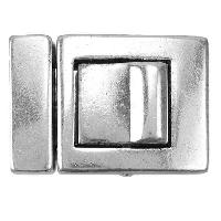 20mm Push In Square Flat Leather Cord Clasp - Antique Silver