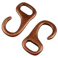 10mm J Hook Flat Leather Cord Clasp - Antique Copper