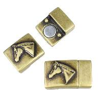 10mm Flat Horse Head Magnetic Clasp - Antique Brass