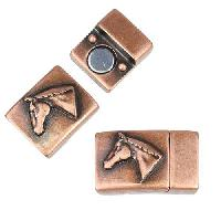 10mm Flat Horse Head Magnetic Clasp - Antique Copper