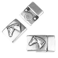 10mm Flat Horse Head Magnetic Clasp - Antique Silver
