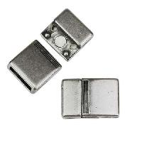 10mm flat FOUR LINES magnetic clasp ANTIQUE SILVER