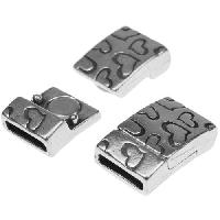 10mm Heart Flat Leather Cord Magnetic Clasp - Antique Silver