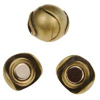 5mm Sphere Flat Leather Cord Magnetic Clasp - Antique Brass