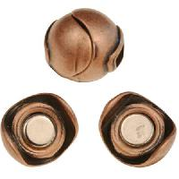5mm Sphere Flat Leather Cord Magnetic Clasp - Antique Copper