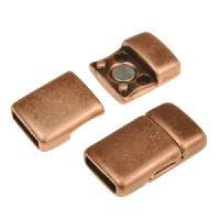 10mm Rounded Flat Leather Cord Magnetic Clasp - Antique Copper