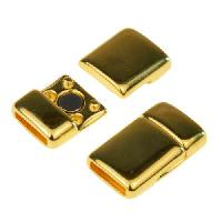10mm Rounded Flat Leather Cord Magnetic Clasp - Gold Plated