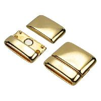 20mm Rounded Flat Leather Cord Magnetic Clasp - Shiny Gold