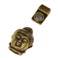 5mm Buddha Head Flat Leather Cord Magnetic Clasp - Antique Brass