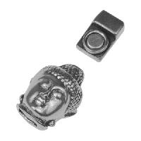5mm Buddha Head Flat Leather Cord Magnetic Clasp - Antique Silver