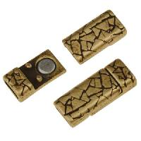 5mm Abstract Flat Leather Cord Magnetic Clasp - Antique Brass