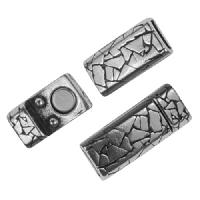5mm Abstract Flat Leather Cord Magnetic Clasp - Antique Silver