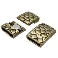 10mm Scales Flat Leather Cord Magnetic Clasp - Antique Brass
