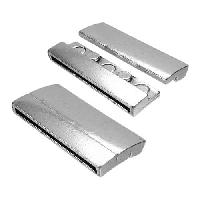 40mm Rectangle Flat Leather Cord Magnetic Clasp - Antique Silver