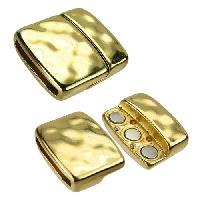 20mm Hammered Flat Leather Cord Magnetic Clasp - Gold Plated