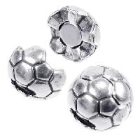 5mm Soccer Ball Flat Leather Cord Magnetic Clasp per 10 pieces - Antique Silver