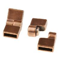 10mm Hinge Flat Leather Cord Magnetic Clasp - Antique Copper