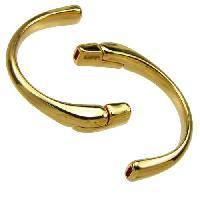 5mm Half Circle Cuff FLAT Leather Cord Magnetic Clasp - Gold Plated