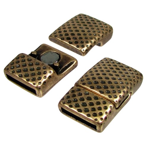 10mm Mesh Flat Leather Cord Magnetic Clasp Antique Brass