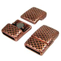 10mm Mesh Flat Leather Cord Magnetic Clasp per 10 pieces - Antique Copper