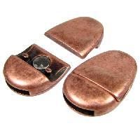 10mm Oval Flat Leather Cord Magnetic Clasp - Antique Copper