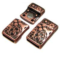 10mm Circles Flat Leather Cord Magnetic Clasp - Antique Copper
