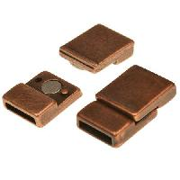 10mm Offset Flat Leather Cord Magnetic Clasp - Antique Copper