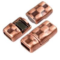 5mm Hammered Flat Leather Cord Magnetic Clasp - Antique Copper